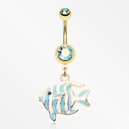 Golden Tropical Stripe Fish Belly Button Ring-Aqua/Aurora Borealis