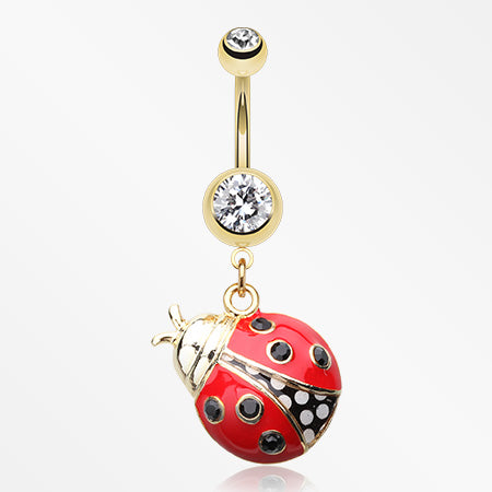 Golden Charming Ladybug Belly Button Ring-Clear/Red