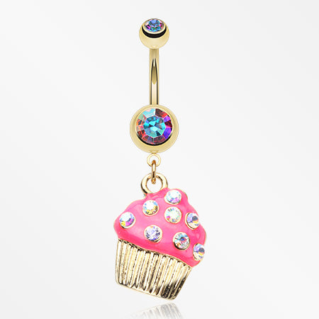 Sweet Frosted Cupcake Belly Button Ring-Aurora Borealis/Pink