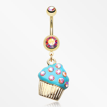 Sweet Frosted Cupcake Belly Button Ring-Pink/Aurora Borealis/Teal