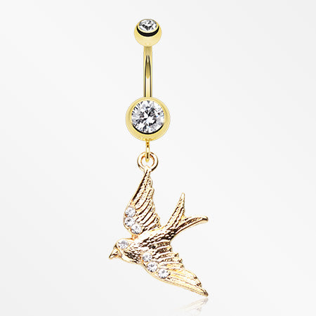 Golden Flying Swallow Sparkle Belly Button Ring-Clear