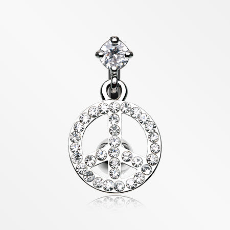 Peace Bedazzled Reverse Belly Button Ring-Clear