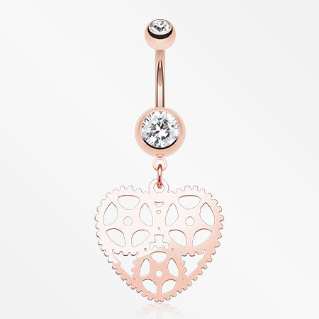 Rose Gold Steampunk Hollow Heart Belly Button Ring-Clear