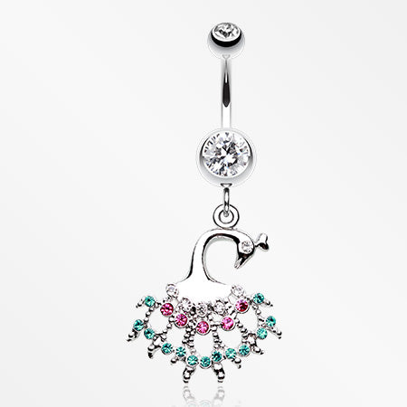peacock-dance-belly-button-ring-clear