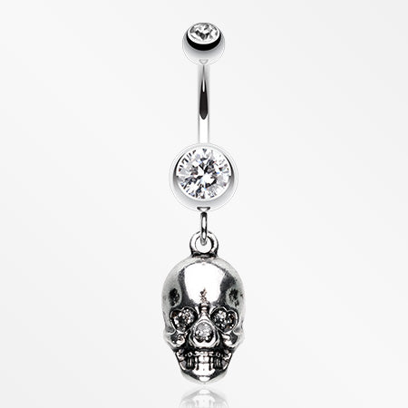 Skull Amour Belly Button Ring-Clear