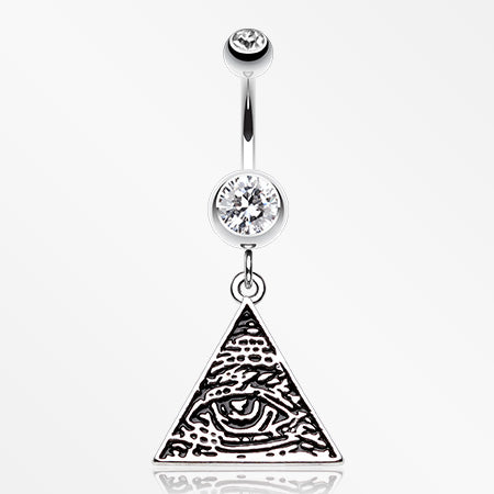 Eye of Providence Belly Button Ring-Clear