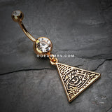 Golden Eye of Providence Belly Button Ring-Clear