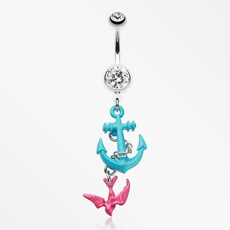 Classic Sparrow Anchor Belly Button Ring-Clear