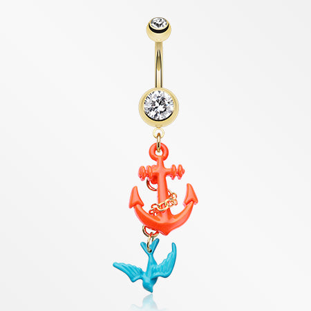 Golden Sparrow Anchor Belly Button Ring-Clear
