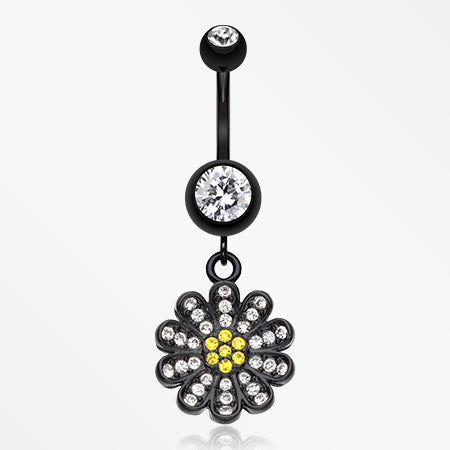 Blackline Flower Sparkle Belly Button Ring-Black/Clear