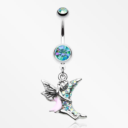 Adorable Moon Hugging Fairy Belly Button Ring-Aqua/Aurora Borealis