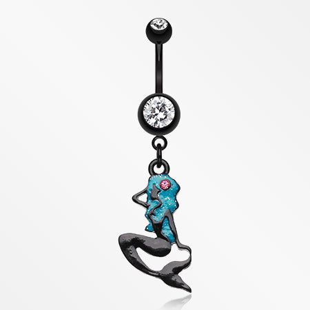 Sexy Mermaid Silhoutte Belly Button Ring-Black/Clear