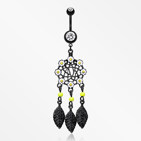 Colorline Daisy Glam Dreamcatcher Belly Button Ring-Black/Clear