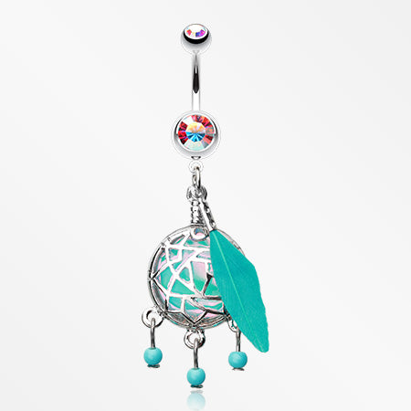 Opal Sparkle Dreamcatcher Belly Button Ring-Aurora Borealis