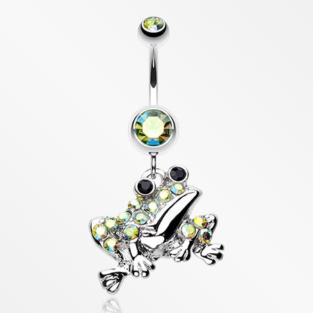 Swaggy Frog Sparkle Belly Button Ring-Green/Aurora Borealis