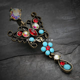 Vintage Boho Glistening Butterfly Flower Reverse Belly Button Ring-Brass/Aurora Borealis/Turquoise