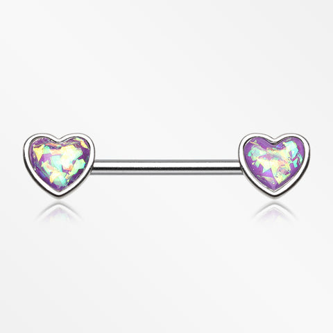 A Pair of Opalescent Heart Sparkle Nipple Barbell-Purple