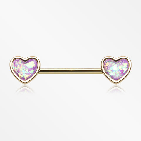 A Pair of Golden Opalescent Heart Sparkle Nipple Barbell-Purple