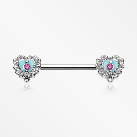 A Pair of Victorian Filigree Heart Nipple Barbell-Fuchsia