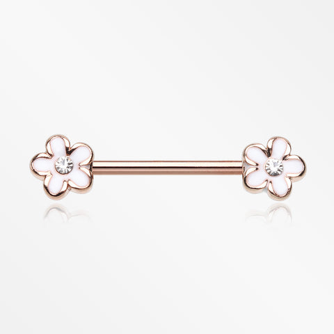 A Pair of Rose Gold Plumeria Flower Sparkle Nipple Barbell-White/Clear