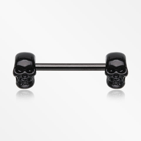A Pair of Blackline Apocalyptic Skull Nipple Barbell Ring-Black