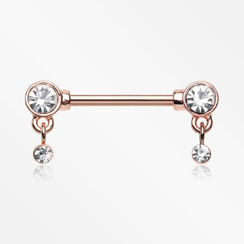 A Pair of Rose Gold Sparkle Dazzle Dangle Droplets Nipple Barbell-Clear