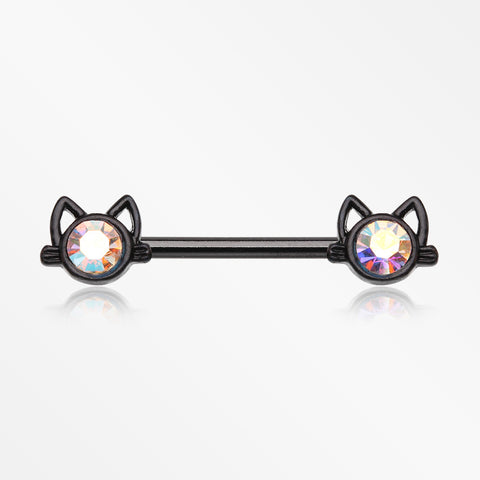A Pair of Blackline Adorable Cat Face Sparkle Nipple Barbell-Black/Aurora Borealis