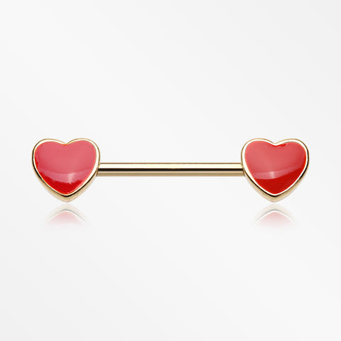 A Pair of Golden Vibrant Heart Nipple Barbell-Red