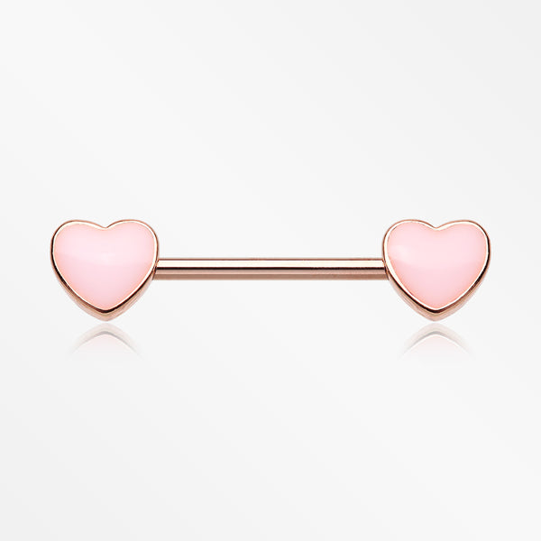 A Pair of Rose Gold Adorable Pink Heart Nipple Barbell-Light Pink