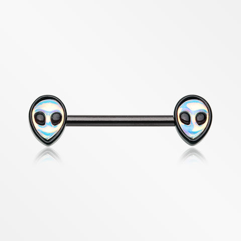A Pair of Blackline Iridescent Revo Alien Nipple Barbell-Black