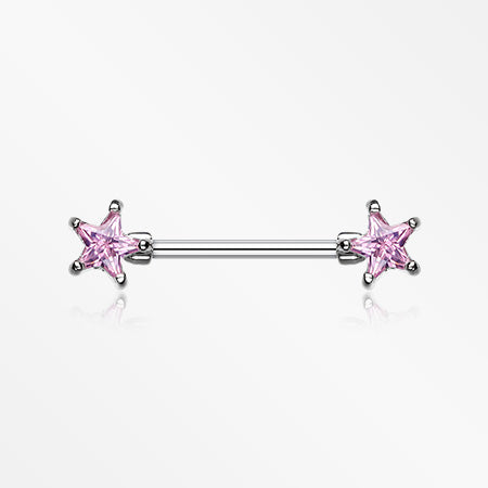 Double Star Gem Nipple Barbell Ring-Pink