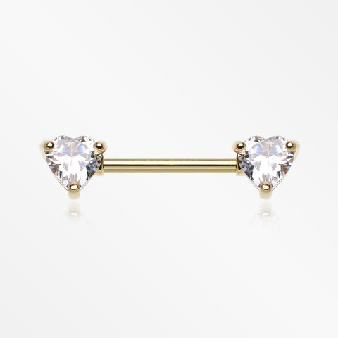 A Pair of Golden Heart Sparkle Prong Nipple Barbell-Clear