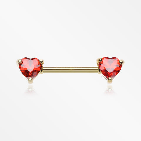 A Pair of Golden Heart Sparkle Prong Nipple Barbell-Red