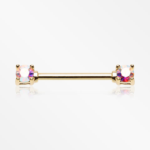 Golden Brilliant Sparkle Gem Prong Set Nipple Barbell-Aurora Borealis