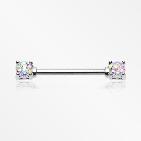 A Pair of Sprinkle Dot Multi-Gem Sparkle Prong Set Nipple Barbell-Aurora Borealis