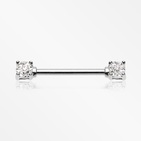 A Pair of Sprinkle Dot Multi-Gem Sparkle Prong Set Nipple Barbell-Clear
