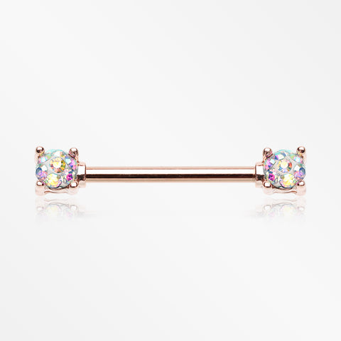 A Pair of Rose Gold Sprinkle Dot Multi-Gem Sparkle Prong Set Nipple Barbell-Aurora Borealis