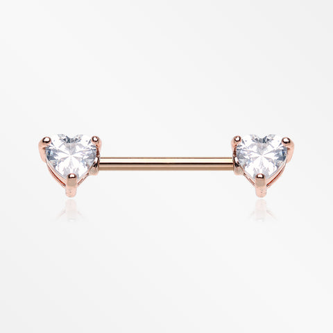 A Pair of Rose Gold Brilliant Heart Sparkle Prong Set Nipple Barbell-Clear