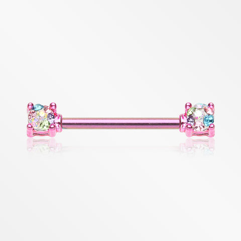 A Pair of Colorline Motley Multi-Gem Sprinkle Sparkle Prong Set Nipple Barbell-Pink/Candy