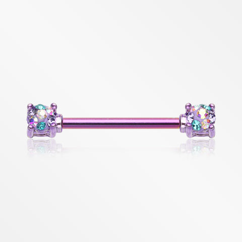 A Pair of Colorline Motley Multi-Gem Sprinkle Sparkle Prong Set Nipple Barbell-Purple/Bohemian
