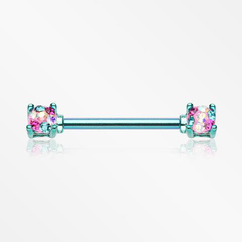 A Pair of Colorline Motley Multi-Gem Sprinkle Sparkle Prong Set Nipple Barbell-Teal/Miami