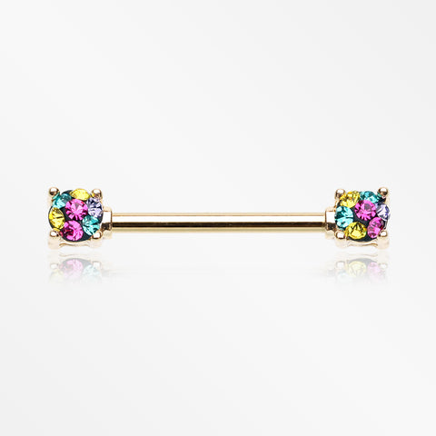 A Pair of Golden Motley Sprinkle Dot Multi-Gem Sparkle Prong Set Nipple Barbell-Retro