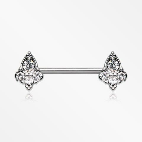 A Pair of Victorian Elegance Sparkle Nipple Barbell-Clear