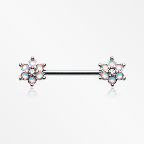 A Pair of Iridescent Revo Spring Flower Sparkle Nipple Barbell-Clear