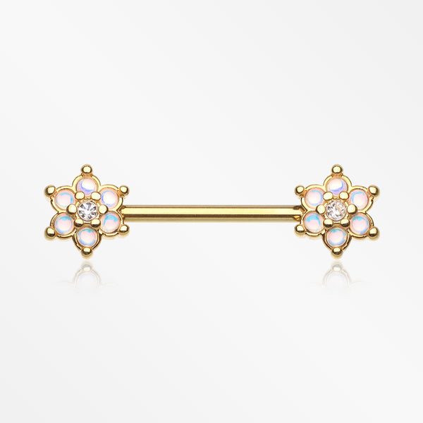 A Pair of Golden Moonstone Sparkle Spring Flower Nipple Barbell-Clear