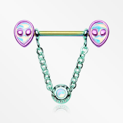 A Pair of Rainbow Iridescent Alien Revo Dangle Chain Nipple Barbell-Rainbow