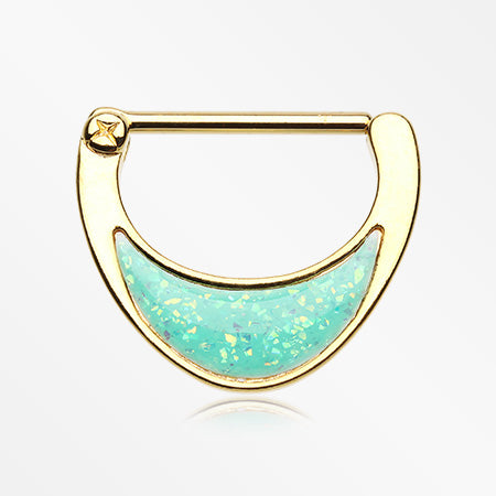 A Pair of Golden Crescent Opalescent Sparkle Nipple Clicker-Mint Green