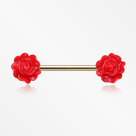 Golden Acrylic Rose Blossom Nipple Barbell Ring-Red