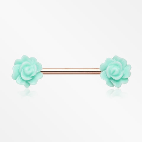 Rose Gold Acrylic Rose Blossom Nipple Barbell Ring-Mint Green