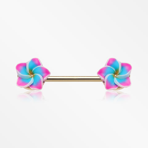 A Pair of Candy Plumeria Handmade Clay Flower Nipple Barbell